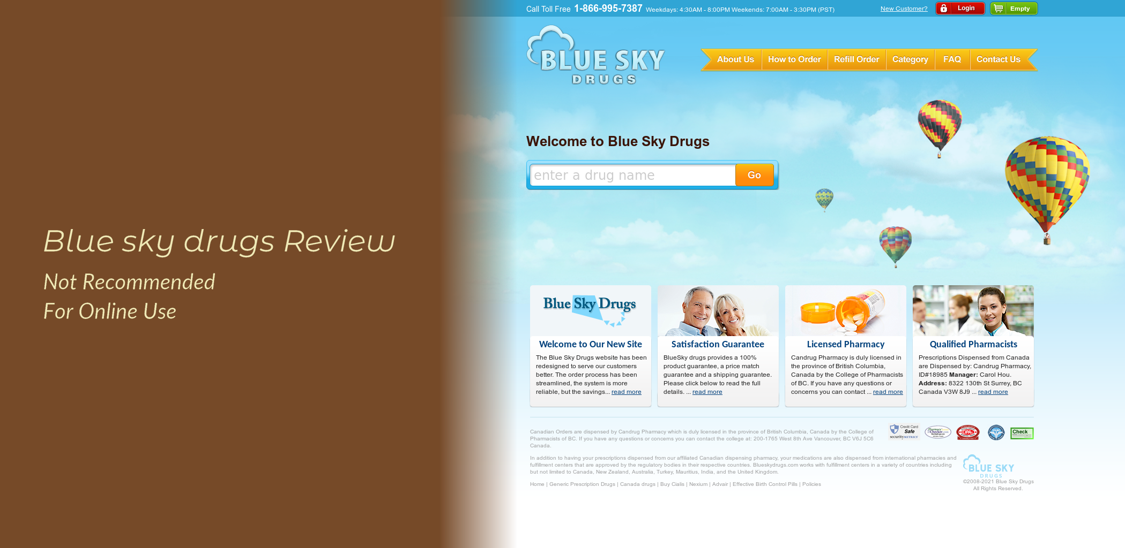 Blue Sky Drugs Review - Not Recommended For Online Use