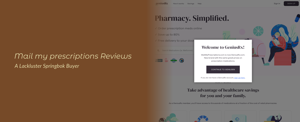 Mail My Prescriptions Reviews – A Lackluster Springbok Buyer
